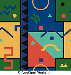 Abstract vector pattern with geometric shapes.