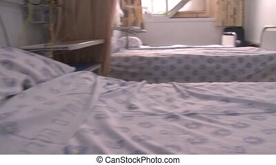 hospital beds- - Shot of hospital beds-