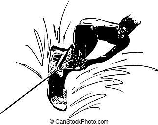 Water skiing illustration - Water skiing abstract...