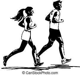 young fitness couple of man and woman jogging in park