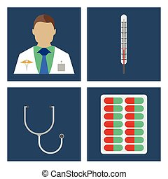 Doctor, thermometer, stergoscope. Set of Medical object flat icon. Vector Illustration.