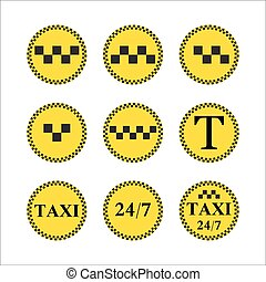 Taxi stylish set of stickers, logos and icons