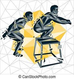 Cross Fit new man 05 - Geometric Crossfit concept. Box Jump....