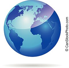 Globe with world map . Abstract glossy 3d globe . Dark blue earth sphere