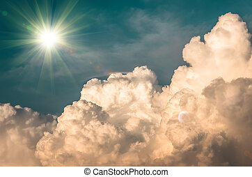large clouds and sun before a storm, background - large...