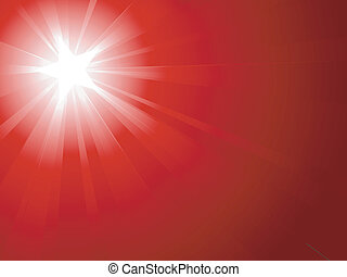 Light burst from white to dark red with a white star in the...