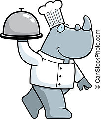 Rhino Chef - A happy cartoon rhino chef carrying a serving...