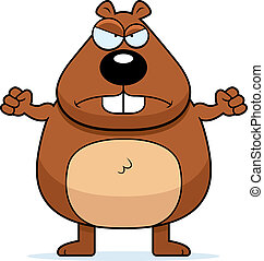 Beaver Angry - An angry cartoon beaver frowning and looking...