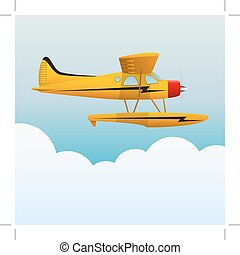 Yellow seaplane. The aircraft in the sky. Vector Image.