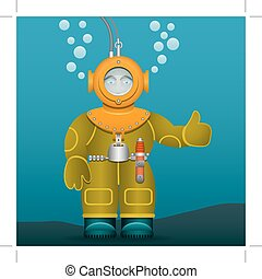 Diver in an old suit and scuba diving helmet. Cartoon style. Vector Image.