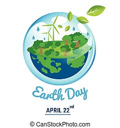 Ecology world with April 22 Earth Day text
