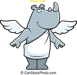 Rhino Angel - A happy cartoon rhino with angel wings and...