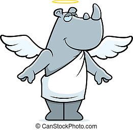 Rhino Angel - A happy cartoon rhino with angel wings and...