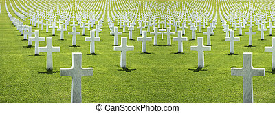 cemetery of the Americans in Florence, green grass and...