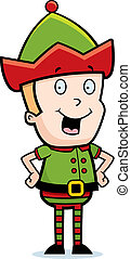 Christmas Elf Smiling - A happy cartoon Christmas elf...