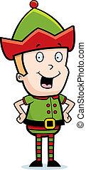 Christmas Elf Smiling - A happy cartoon Christmas elf...
