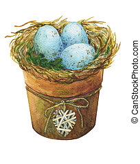 Bird nest with blue eggs in a flowerpot with a decorative...