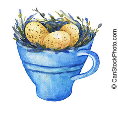 Bird nest with yellow eggs in a blue cup, home decor for...
