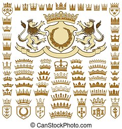Heraldic crests and crowns collection