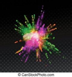 Multicolored explosive cloud of powder dye. Vector...