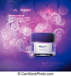 Cosmetics package design. - Cosmetics product ads. 3d vector...
