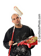house painter with paint roller on white background