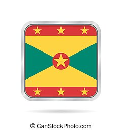 flag of Grenada, shiny metallic gray square button
