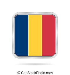 Flag of Chad. Shiny metallic gray square button.