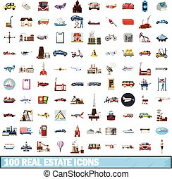 100 real estate icons set, cartoon style