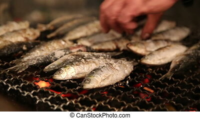 Grilled sardines on the fire - Shot of Grilled sardines on...