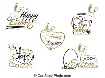 Set Easter lettering, Easter bunny and Easter eggs