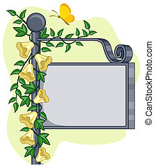 Garden Frame - A Blank Signpost Covered With Vines Against...
