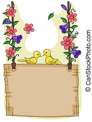 Garden Frame - Romantic View of a Pair of Birds Sitting on...