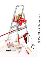 paint roller, brushes, borer and ladder on white background