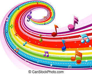Rainbow Music - Rainbow-Colored Rainbow Design With Musical...