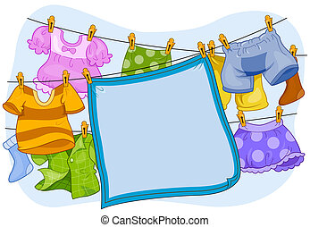 Laundry Frame - A Blanket and Clothes Hanging From a...