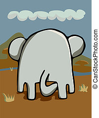 Elephantidae Posterior - Rear-end view of an elephant...