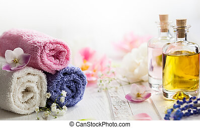 Healthy cosmetic care. - Bottles with essential aroma...
