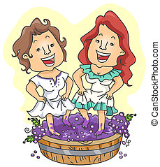 Making Wine - A Pair of Cheerful Women Dancing While...