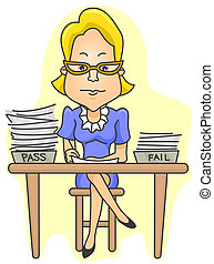 Teacher Grading - A Teacher Checking / Grading Test Papers