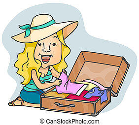Woman Packing - A Beaming Woman Packing Clothes for a Trip