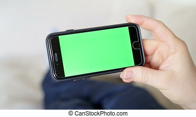 green screen inside phone with finger touch screen gestures...