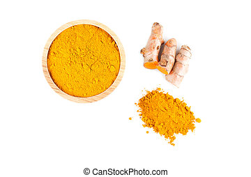 Turmeric rhizome and turmeric powder in wooden bowl isolated...