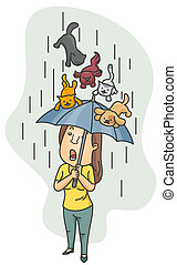 Raining Cats and Dogs - A Woman Using Her Umbrella as a...