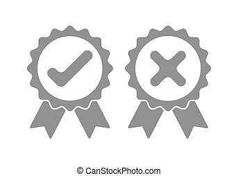 Approved and rejected icon. Vector illustration. - Gray...