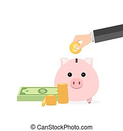 Piggy bank and hand with coin. Vector illustration. - Piggy...