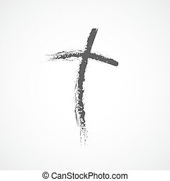 Hand drawn Christian cross icon. Vector illustration. Hand...