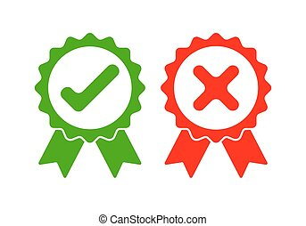 Approved and rejected icon. Vector illustration. - Green...