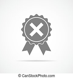 Rejected icon. Vector illustration. - Gray reject icon in...