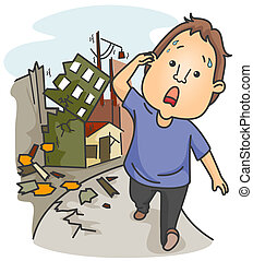 Earthquake - A Panic-Stricken Man Walking Away From...